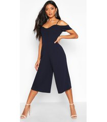 off the shoulder culotte jumpsuit, navy