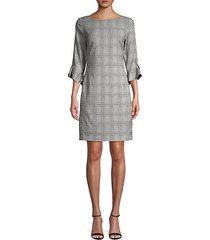 plaid tulip-sleeve sheath dress