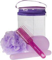 kit nécessaire + escova de cabelo + porta escova dental + saboneteira 1 esponja para banho