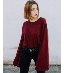longsleeve z szerokimi rękawami w kolorze ruby wine