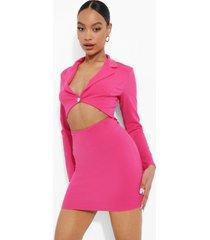 blazer jurk met uitsnijding en lange mouwen, pink