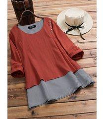 vintage plaid patchwork irregolare manica lunga camicia