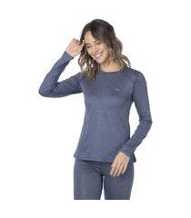 blusa segunda pele térmica transit heather crew feminina mescla azul
