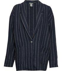 jacket violet linen blazer kavaj blå lindex