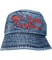 denim hat with embroidery