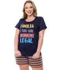 pijama short doll plus size feminino listras luna cuore