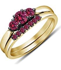 round cut red garnet two tone black & yellow bridal engagement wedding ring set