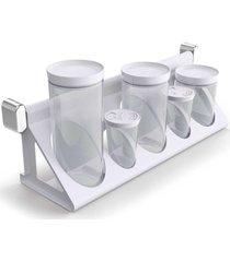 utensílio branco sem temporada suporte porta-condimentos branco solido de plástico