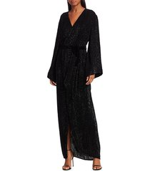 retrofête women's janet glittered stripe faux-wrap dress - black - size xs