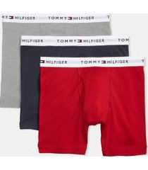 tommy hilfiger men's cotton classics boxer brief 3pk grey/navy/red - l
