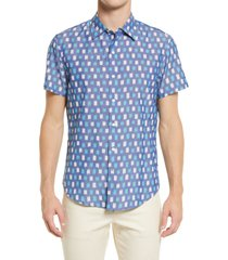 bonobos men's rivie slim fit print short sleeve button-up shirt, size xx-large in checkers ikat - blue topaz at nordstrom