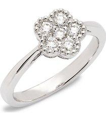 18k white gold, ruby & diamond flower solitaire ring