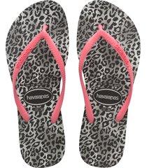 women's havaianas slim leopard flip flop, size 39/40 br - black