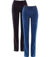 pantaloni elasticizzati straight (pacco da 2) (blu) - bpc bonprix collection