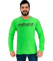 camiseta manga longa moletinho alto conceito letreiro hardcore basico verde neon - verde - masculino - algodã£o - dafiti