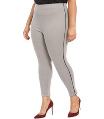 hue plus size houndstooth knit high-waisted cropped skimmer leggings