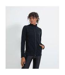 jaqueta esportiva em fleece | get over | preto | p