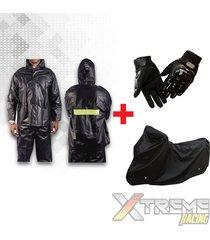 impermeable + pijama sencilla para moto + guantes pro biker