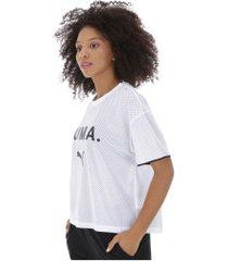camiseta puma chase mesh - feminina - branco