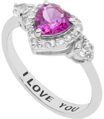 women's heart 'i love you' message ring in sterling silver
