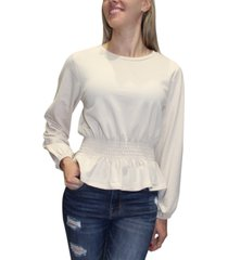 crave fame juniors' smocked-waist french terry pullover