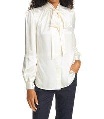 women's tory burch tie neck silk blouse