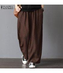 zanzea para mujer de gran tamaño harem ancho piernas pantalones casuales pantalones de cintura elástica -marrón