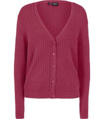 cardigan boyfriend in maglia a coste (viola) - bpc bonprix collection