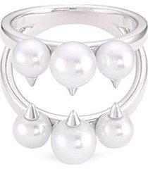 'danger signature' akoya pearl 18k white gold ring