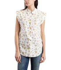 floral mouwloos shirt
