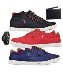 kit 3 pares sapatênis polo blu casual cano alto e cano baixo preto/vermelho/azul acompanha carteira + relógio