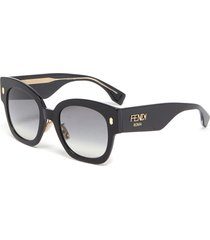 square acetate frame logo embellished sunglasses
