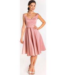 sukienka rozalia - różowa midi rozkloszowana