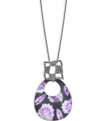 alexis bittar women's black rhodium-plated silvertone, lucite & crystal link pendant necklace