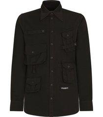 dolce & gabbana multi-pocket logo shirt - black