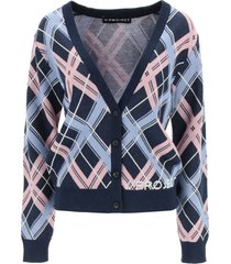 y/project checkered cardigan with logo