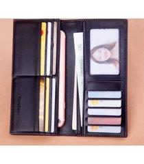 billetera, larga multifunción de tela escocesa con-negro