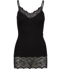 organic strap top medium w/ lace t-shirts & tops sleeveless svart rosemunde