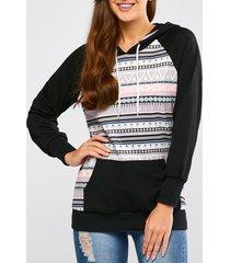 casual raglan sleeve geometric pullover hoodie