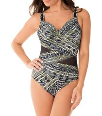 miraclesuit women's monteverde madero one-piece swimsuit - olivetta - size 14