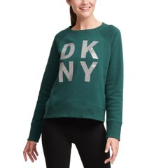 dkny sport sparkle-logo fleece sweatshirt