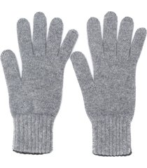 pringle of scotland gloves with ribbed details - grey