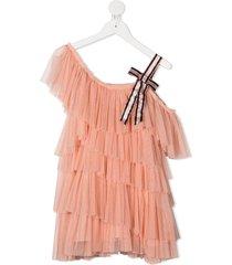 raspberry plum leila ruffled tulle dress - pink