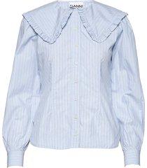 stripe cotton blouse lange mouwen blauw ganni