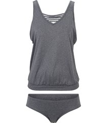 tankini oversize (set 2 pezzi) (grigio) - bpc bonprix collection