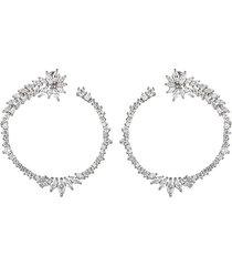 eye candy la women's luna cubic zirconia hoop earrings