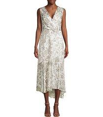 brittney floral lace eyelet midi wrap dress