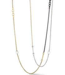 alor women's 18k gold, multicolor stainless steel, diamond & 6-8mm freshwater pearl necklace