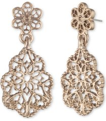 marchesa gold-tone filigree drop earrings