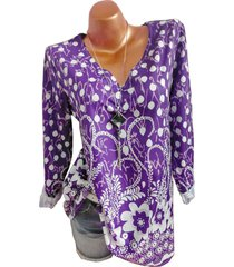 plus size mixed pattern long sleeve pullover blouse